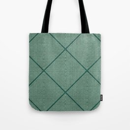 Stitched Diamond Geo Grid in Green Tote Bag