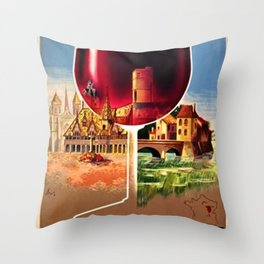 1930 French Bourgogne Wine Societe Nationale Advertisement Poster Throw Pillow