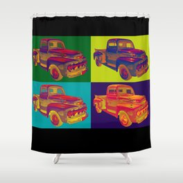 Colorful 1951 Ford F-1 Pickup Truck Pop Art  Shower Curtain