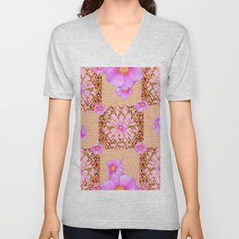 Delicate French Style Fuchsia Pink Wild Rose Gold Jewelry Abstract Unisex V-Neck