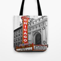theater Tote Bags featuring Chicago Theater by Chris Martin