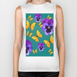 TEAL PURPLE PANSIES BUTTERFLY OPTIC ART Biker Tank