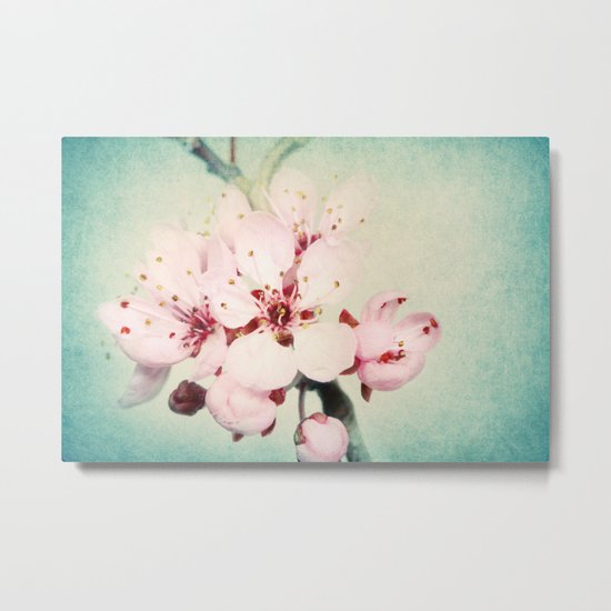Blossom with Blue Metal Print