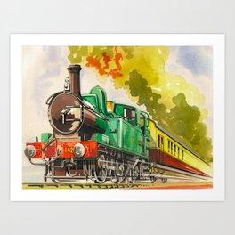 Vintage Mid Century Travel Poster British Railways Steam Engine Watercolor Illustration Art Print