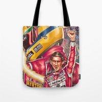 senna Tote Bags featuring Ayrton Senna do Brasil by Renato Cunha