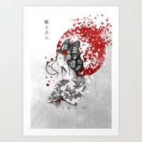 butterfly Art Prints featuring Madame Butterfly by Marine Loup