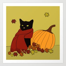 Cascade The Black Cat In Red Scarf With Pumpkin - Fall Art Print