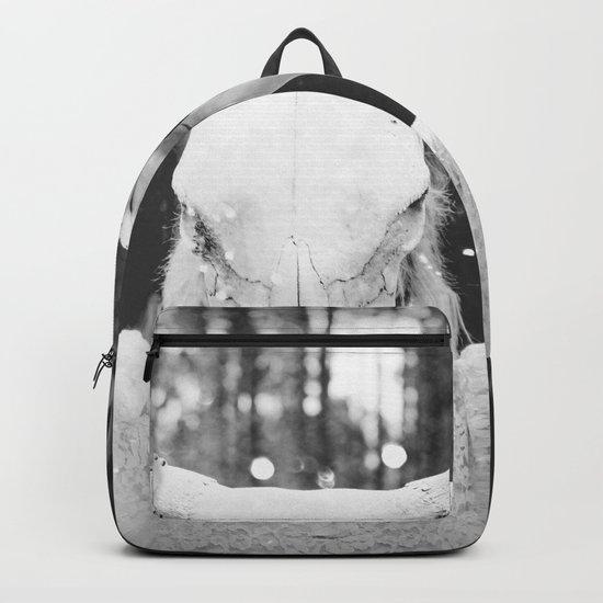 Bull Skull Tribal Woman Vintage Backpack