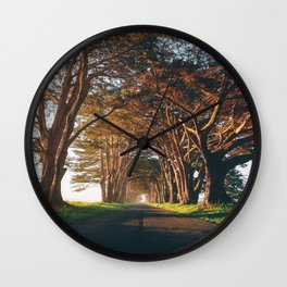 Sunrise at the Tree Tunnel - Point Reyes, California Wall Clock