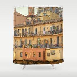 Balconies in Girona, Cataluna, Spain Shower Curtain