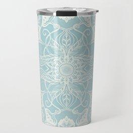Floral Pattern in Duck Egg Blue & Cream Travel Mug