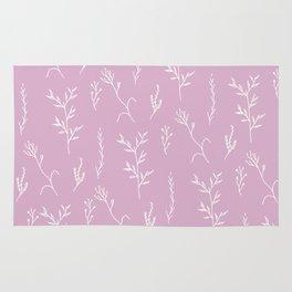 Modern spring pink lavender floral twigs hand drawn pattern Rug