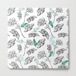 Elegant white green black orchid floral illustration Metal Print