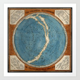 The Celestial Planisphere, or Transparent Star Director (1777 engraving) Art Print