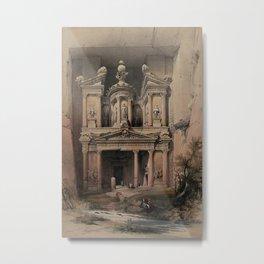 Vintage Print - The Holy Land, Vol 3 (1843) - El Khasnè, Petra Metal Print