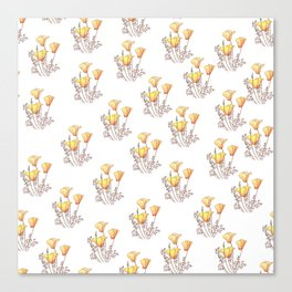 California Poppies, Watercolor Poppy Surface Pattern Design Canvas Print