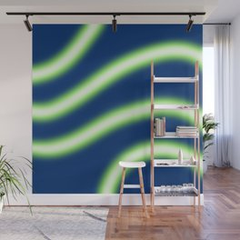Glowy Neon Light Style Wavy Lines Wall Mural