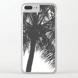 Palm Tree Grey Summer Beach Clear iPhone Case