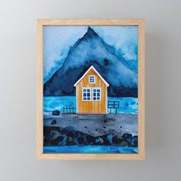 Norway Lofoten Oranges House Framed Mini Art Print