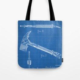 Firemans Axe Patent - Fire Fighter Art - Blueprint Tote Bag