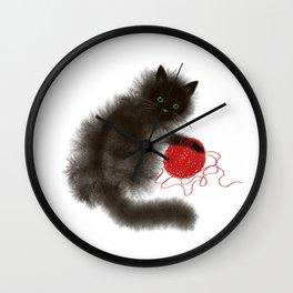 Mischievous cat Wall Clock