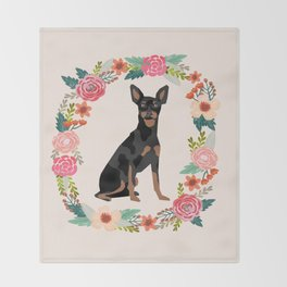 miniature pinscher floral wreath dog breed pet portrait pure breed dog lovers Throw Blanket