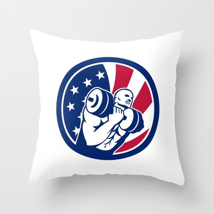 American Gym Circuit USA Flag Icon Throw Pillow