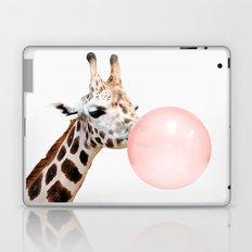 Giraffe with pink bubble gum Laptop & iPad Skin