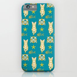 Ginger cat and Fish bone pattern iPhone Case