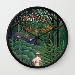 Woman Walking in an Exotic Forest, Henri Rousseau, 1905 Wall Clock