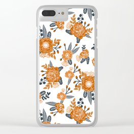 Texas orange and white university texans longhorns college football sports florals Clear iPhone Case