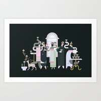 Fashionable Ladies with their Very Exotic Pets Art Print
