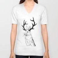 jackalope V-neck T-shirts featuring Jackalope by JChauvette
