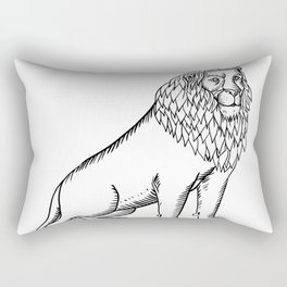 Etching style illustration of a blue male lion with red mane wearing a tiara or crown sitting down d Rectangular Pillow