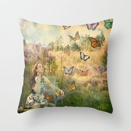 Release of the butterflies Throw Pillow