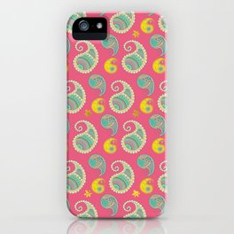 Pastel Pink and teal Boho Paisley pattern iPhone Case