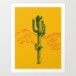 green cactus, yellow desert Art Print