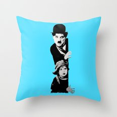 Chaplin and the kid - turquoise Throw Pillow
