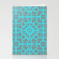 gray pattern Stationery Cards featuring Turquoise and Gray Pattern  by xiari