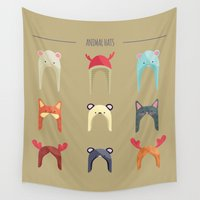 hats Wall Tapestries featuring Animal Hats by Celosa Art