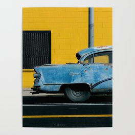 Rusty Blue Car and Yellow Wall Poster