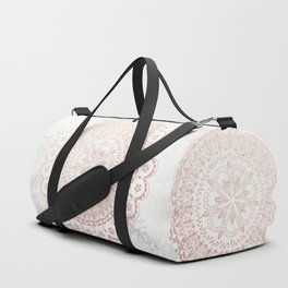 Rose gold mandala and grey marble Duffle Bag