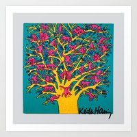 keith haring Art Prints featuring Keith Haring: The Tree of Monkeys by cvrcak