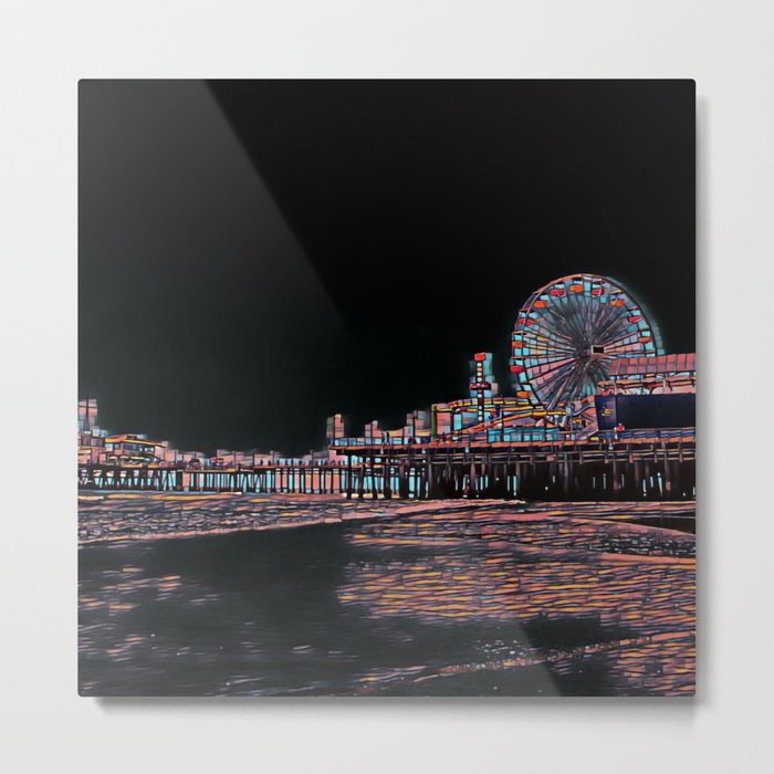 Stained Glass Santa Monica Pier Metal Print by Christine aka stine1 on Society6