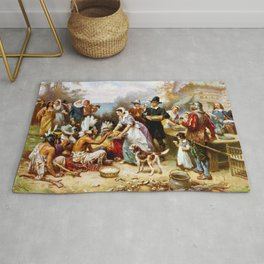 The First Thanksgiving 1621 By Jean Leon Gerome Ferris Rug