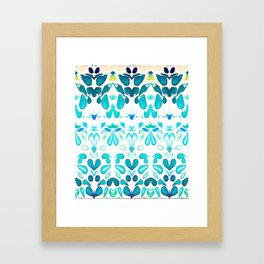 Memories of Summer, Bright Sea Blue and Yellow Framed Art Print
