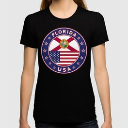 Florida, Florida t-shirt, Florida sticker, circle, Florida flag, white bg T-shirt
