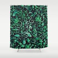 mermaids Shower Curtains featuring Mermaids by hank