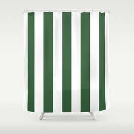 Hunter green - solid color - white vertical lines pattern Shower Curtain