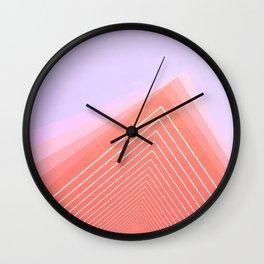 Pink Geometric Triangle minimal cute Wall Clock